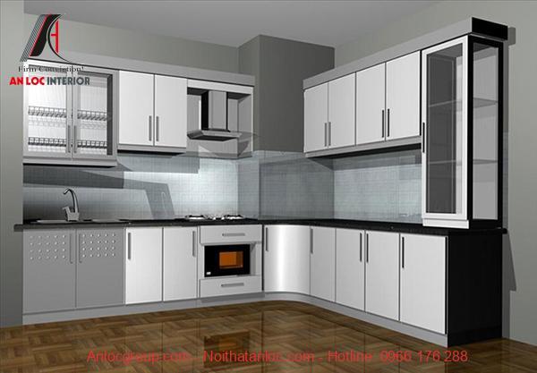 Mẫu 16: Yur bếp xinh với cách phân chia công năng trong nấu nướng hiệu quả