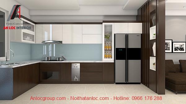 Mẫu 17: Tủ bếp gỗ công nghiệp được phủ laminate tạo nên thiết kế bếp sang trọng, hiện đại