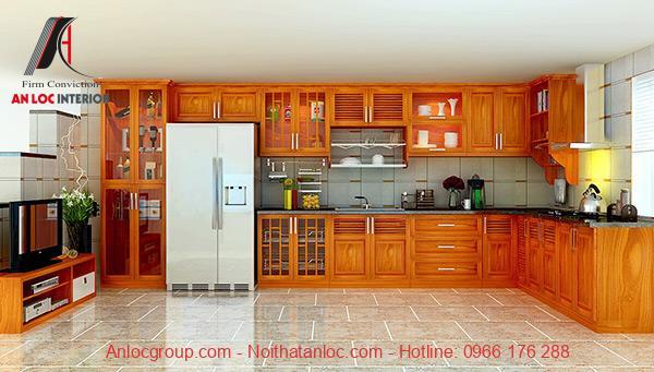 Mẫu 19: Tông màu gỗ tươi sáng giúp không gian phòng bếp trở nên rộng rãi, thoải mái