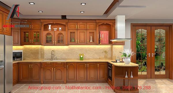 Mẫu 2: Tủ bếp gia đình đơn giản, bố trí công năng khoa học