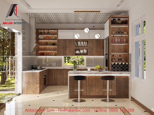 Mẫu 30: Không gian bếp tiện nghi, hiện đại với cách sử dụng ấn tượng, cuốn hút