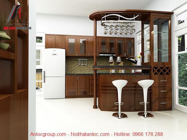 Mẫu 27: Quầy bar hiện đại giúp phòng bếp trở nên tiện nghi, thoải mái
