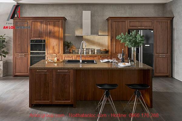 Mẫu tủ bếp có bàn đảo tích hợp quầy bar độc đáo, ấn tượng