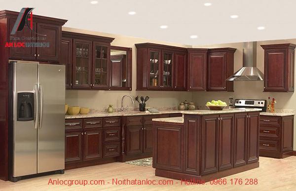 Mẫu 7: Mẫu tủ bếp đẹp mang đến sự thoải mái cho gia chủ trong quá trình nấu nướng