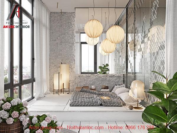 Phòng ngủ nhỏ đẹp không giường tràn ngập ánh sáng