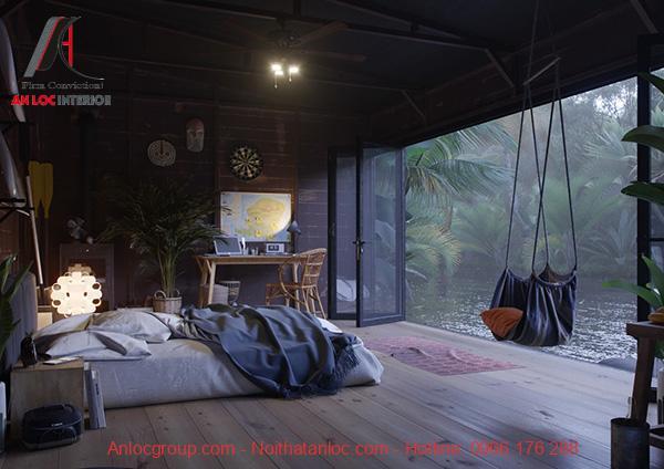phòng ngủ đơn giản không giường