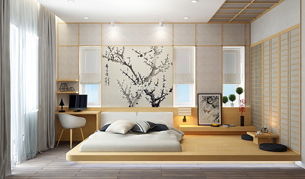 Mẫu giường ngủ không giường phong cách Nhật Bản