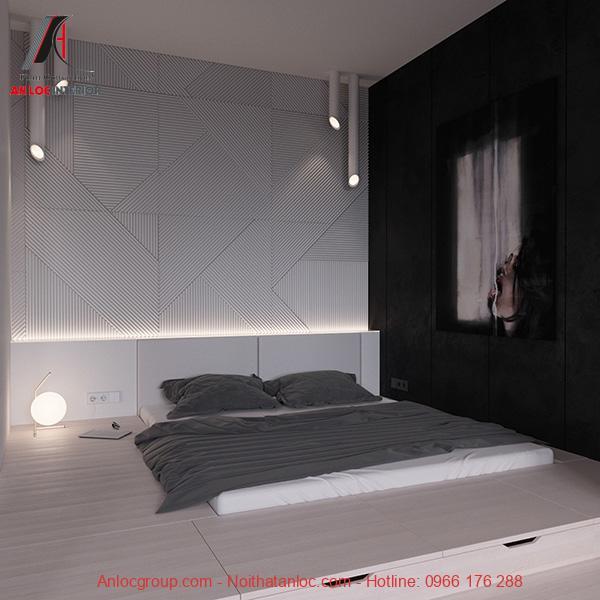 Thiết kế phòng ngủ không giường với tranh ấn tượng