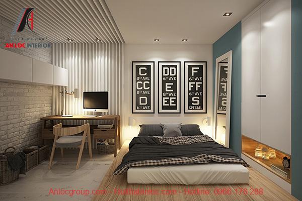 Mẫu phòng ngủ không giường kết hợp bàn làm việc