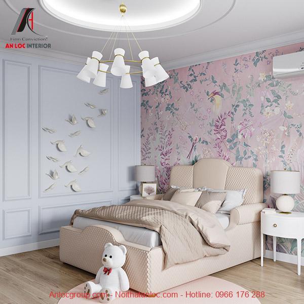 Giấy dán tường phòng ngủ trang nhã
