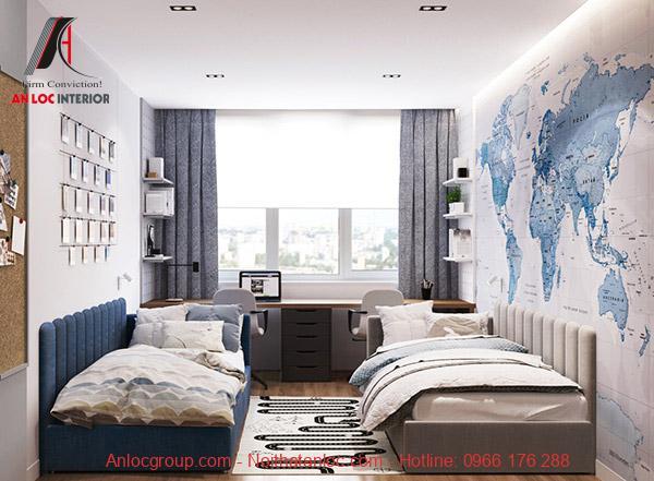 Phòng ngủ 16m2 đẹp cho con trai