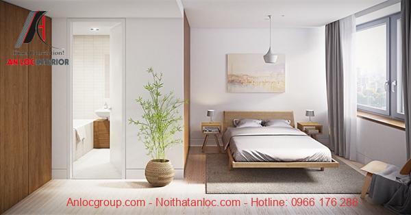 nội thất phòng ngủ với chất liệu gỗ công nghiệp
