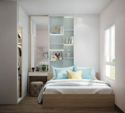 Giải pháp tủ âm tường cánh lùa giúp gia đình tiết kiệm được diện tích mở cửa. Từ khoảng không gian đó có thể bố trí bàn trang điểm mà vẫn đảm bảo thuận tiện trong sử dụng