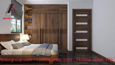 Mẫu 32: Kiểu dáng tủ hài hòa với đồ nội thất trong phòng ngủ