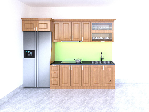 Mẫu 10: Bố trí tiện nghi trên tủ bếp đơn giản mà hiện đại tạo sự ngăn nắp, ấn tượng