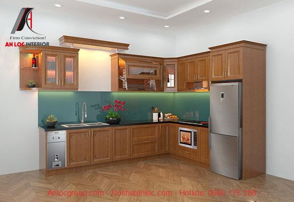 Mẫu 4: Màu sắc tủ bếp gỗ sồi hài hòa với không gian phòng bếp
