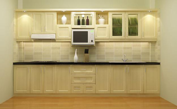 Mẫu 6: Tủ gỗ sồi với tông màu nhẹ nhàng tạo cảm giác thoải mái, dễ chịu