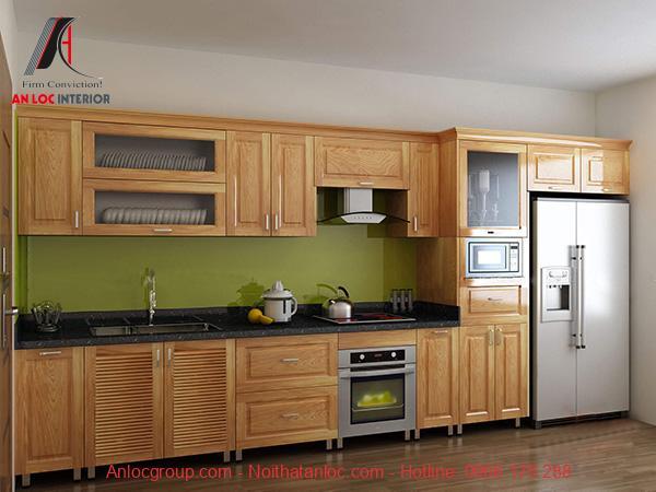Mẫu 7: Thiết kế tủ bếp với ngăn kéo, tủ đựng đồ và khu vực bố trí lò nướng