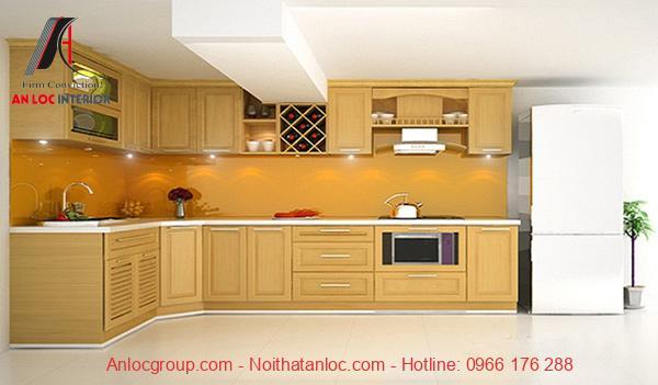 Mẫu 15: Bố trí không gian tủ bếp khoa học, phát huy tối đa công năng khi sử dụng