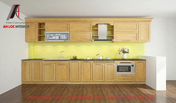 Mẫu 9: Nội thất gỗ sồi Mỹ đơn giản, sáng bóng giúp gia tăng giá trị thẩm mỹ