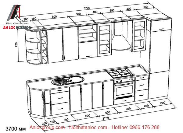 Kích thước tủ bếp chữ I