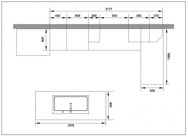Kích thước bàn bếp tiêu chuẩn