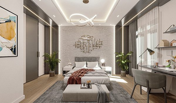 Thiết kế nội thất chung cư 90m2 với phòng ngủ hiện đại