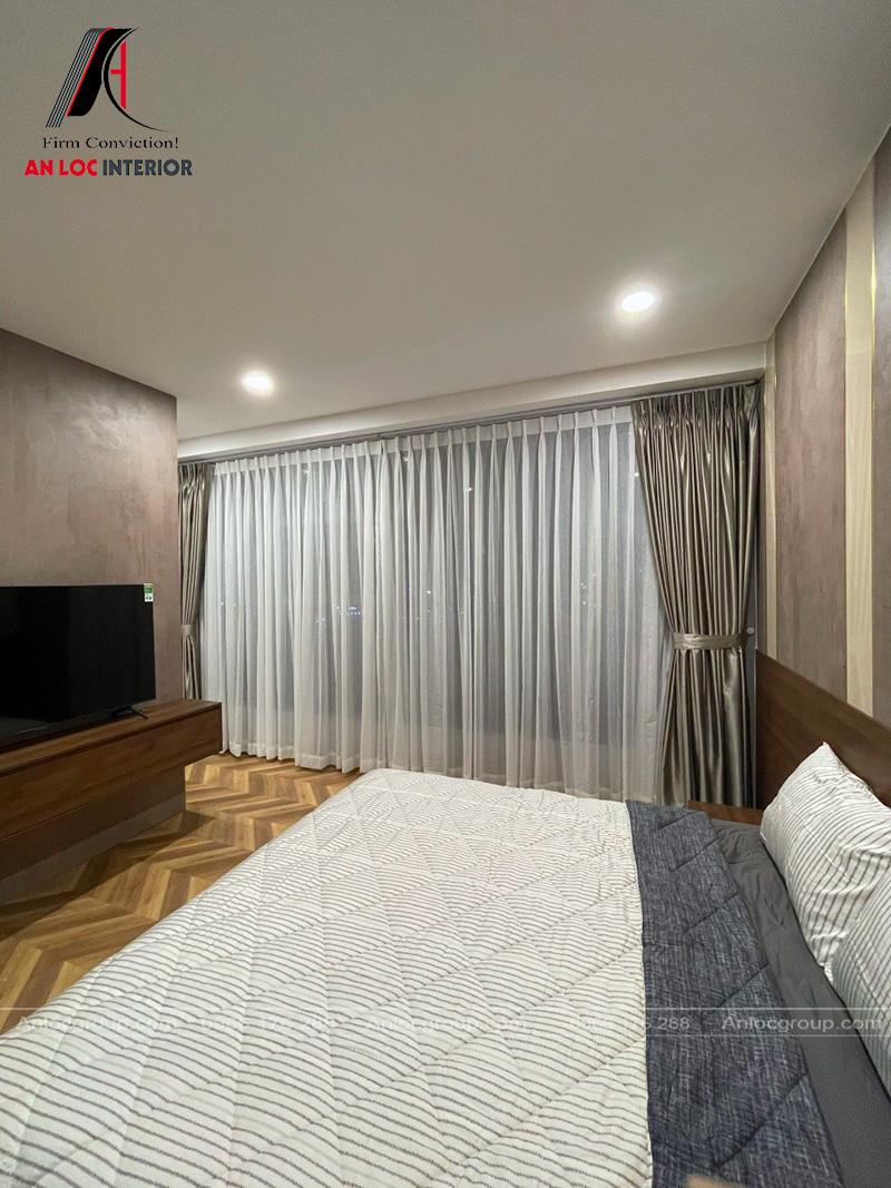 Thiết kế nội thất phòng ngủ master - Ảnh Thi công nội thất chung cư Sunwah Pearl 128m2
