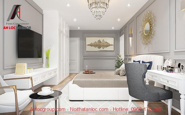 Phòng ngủ master 40m2 hiện đại, ấn tượng đến từng chi tiết