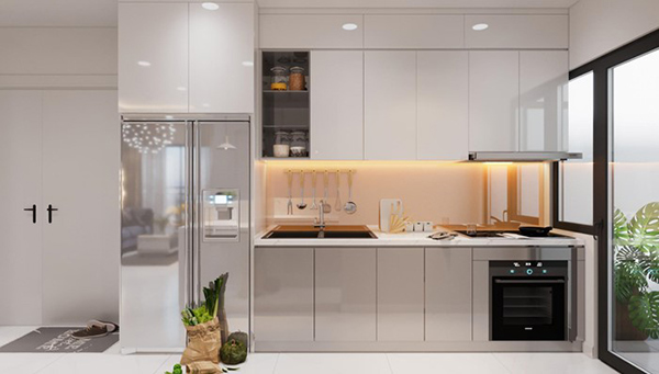 Tủ bếp Acrylic bóng gương ấn tượng, đẳng cấp