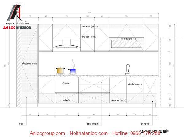 Bản vẽ thiết kế tủ bếp chữ I chi tiết