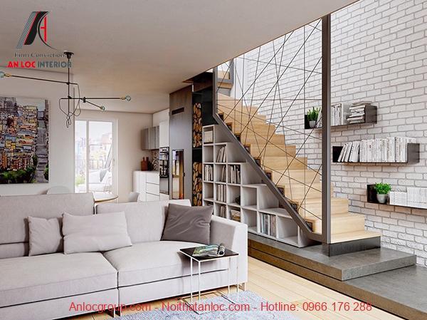 bố trí phòng khách có cầu thang