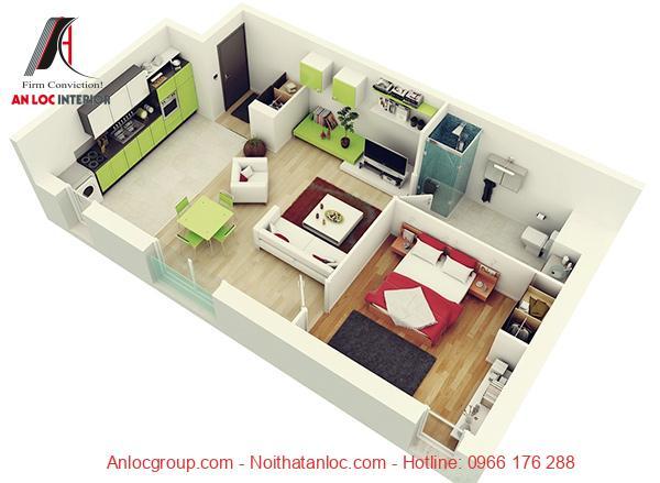Mẫu 1: Mẫu căn hộ 1 phòng ngủ đẹp