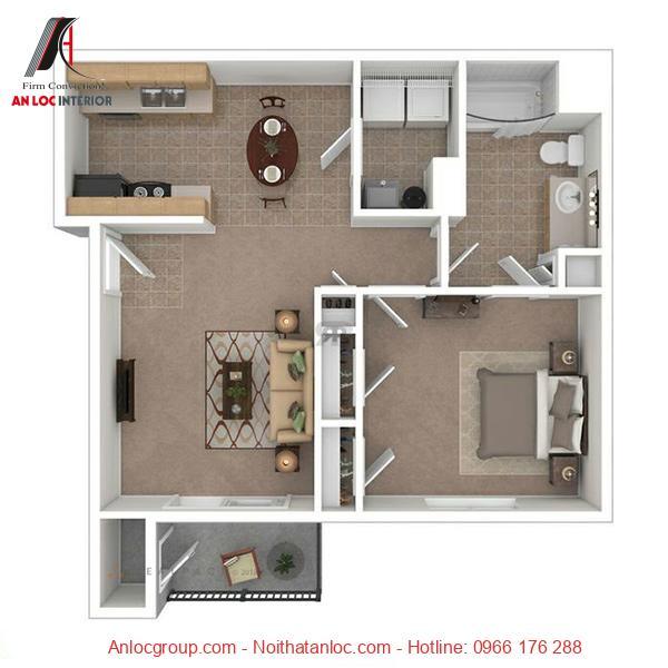 Nội thất chung cư 1 phòng ngủ