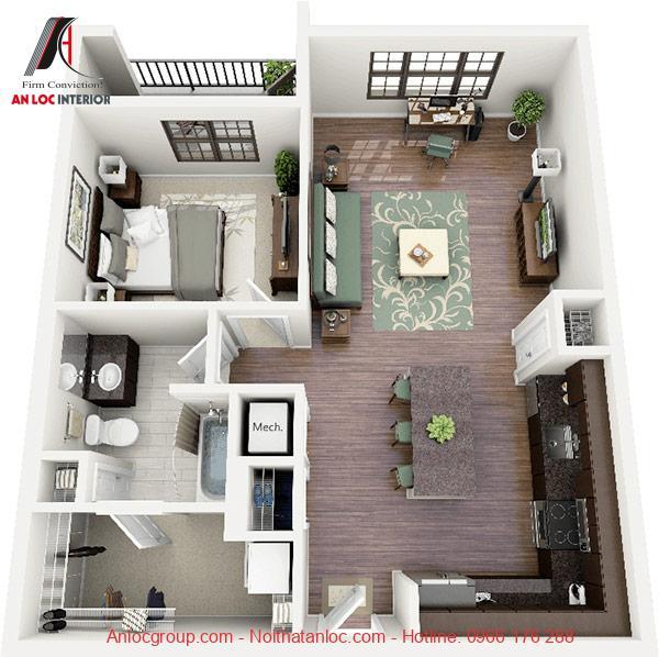 Mẫu căn hộ 1 phòng ngủ đẹp
