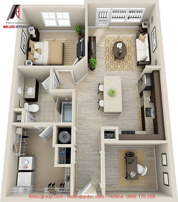 chung cư 1 phòng ngủ