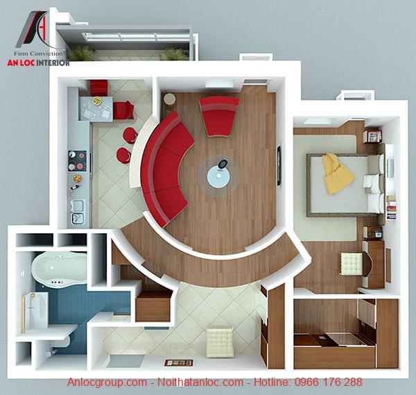Căn hộ chung cư 1 phòng ngủ