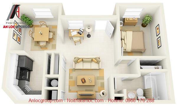 Thiết kế chung cư 1 phòng ngủ đẹp