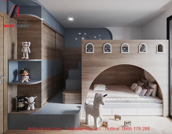 Giường tầng liền tủ