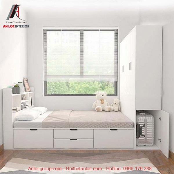 Mẫu giường liền tủ kết hợp hộc kéo
