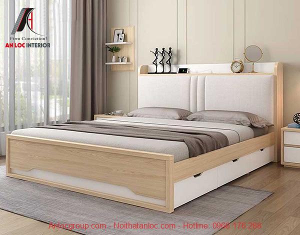 Mẫu giường ngủ gỗ công nghiệp có ngăn kéo