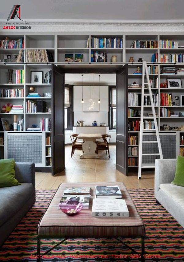 kệ sách trang trí phòng khách