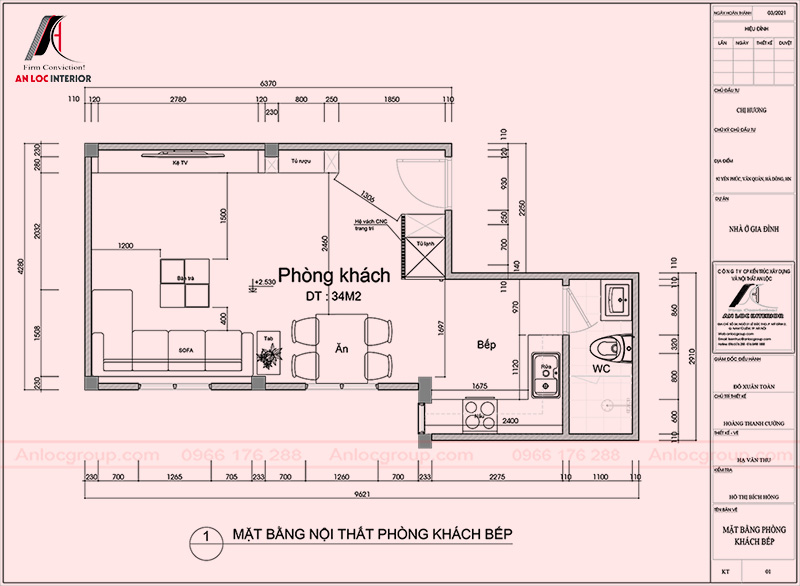 Mặt bằng phòng khách - bếp nhà phố