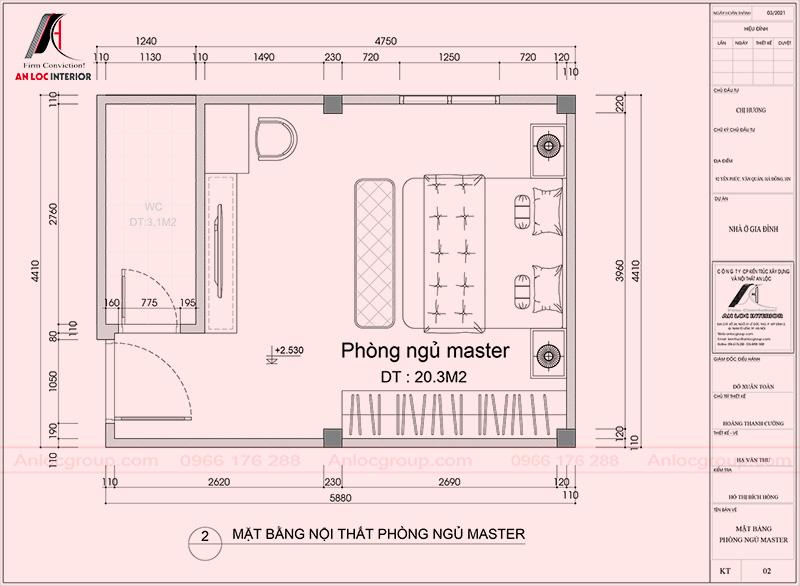 Mặt bằng phòng ngủ master nhà phố