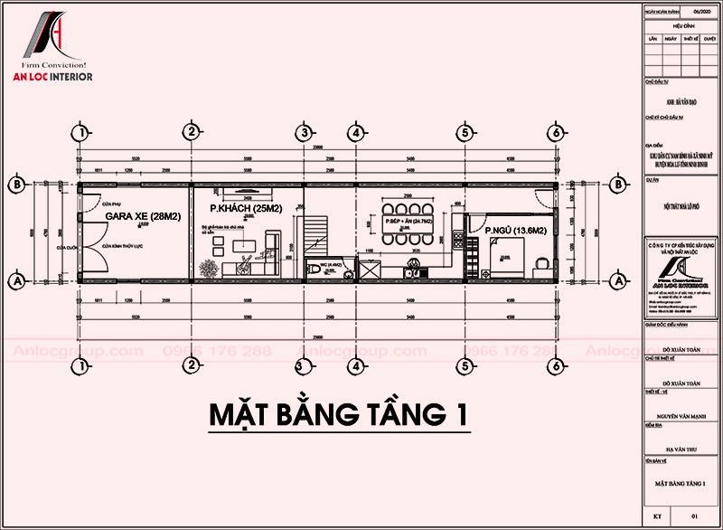 Mặt bằng tầng 1 thiết kế nội thất nhà phố 2 tầng 1 tum tại Ninh Bình