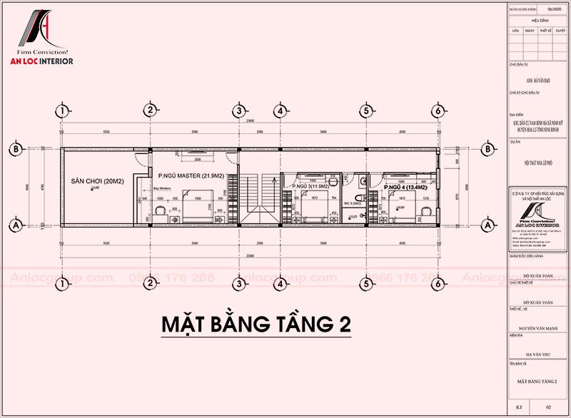 Mặt bằng tầng 2 thiết kế nội thất nhà phố 2 tầng 1 tum tại Ninh Bình
