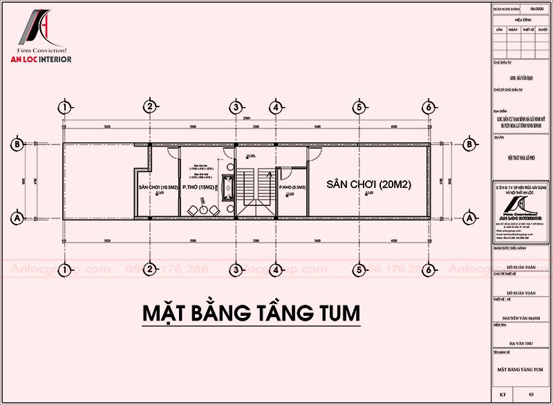 Mặt bằng tầng tum thiết kế nội thất nhà phố 2 tầng 1 tum tại Ninh Bình
