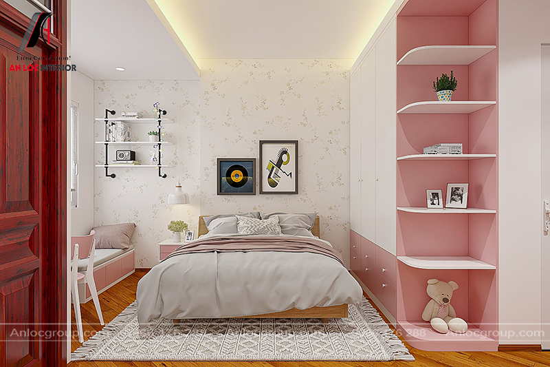 nội thất phòng ngủ con gái nhà phố tại Hà Đông