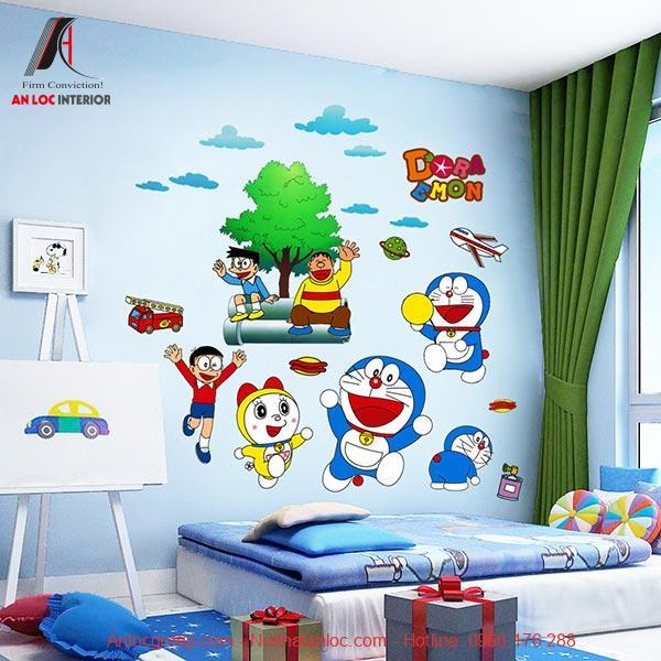 Giấy dán tường phòng ngủ doremon