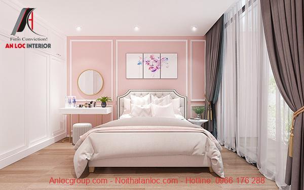 Sơn phòng ngủ màu hồng đào